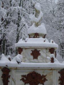 Jardines de la Granja nevados
